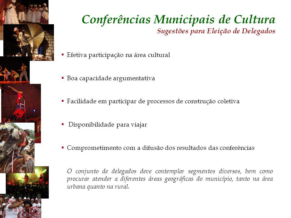 Efetiva participação na área cultural Boa capacidade argumentativa Facilidade em participar de processos de construção coletiva Disponibilidade para v