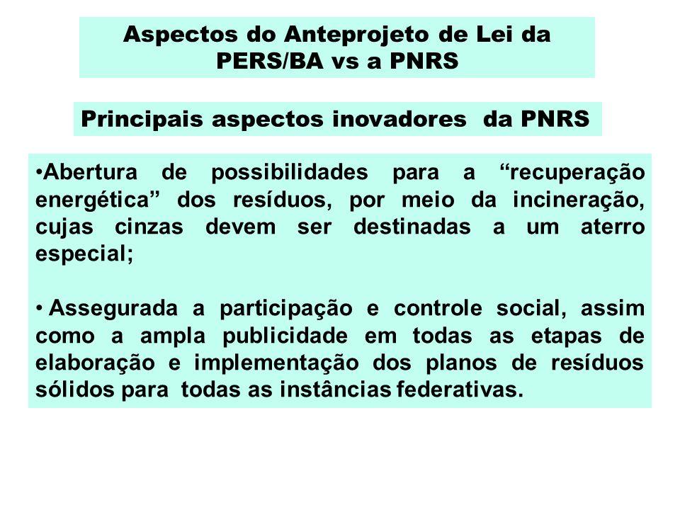 Aspectos do Anteprojeto de Lei da PERS/BA vs a PNRS Abertura de possibilidades para a recuperação energética dos resíduos, por meio da incineração, cu