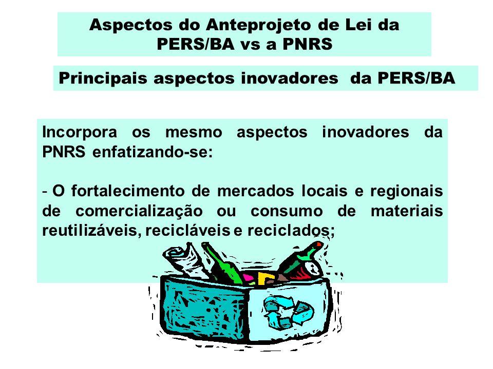 Incorpora os mesmo aspectos inovadores da PNRS enfatizando-se: - O fortalecimento de mercados locais e regionais de comercialização ou consumo de mate