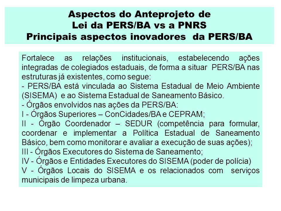 Aspectos do Anteprojeto de Lei da PERS/BA vs a PNRS Principais aspectos inovadores da PERS/BA Fortalece as relações institucionais, estabelecendo açõe