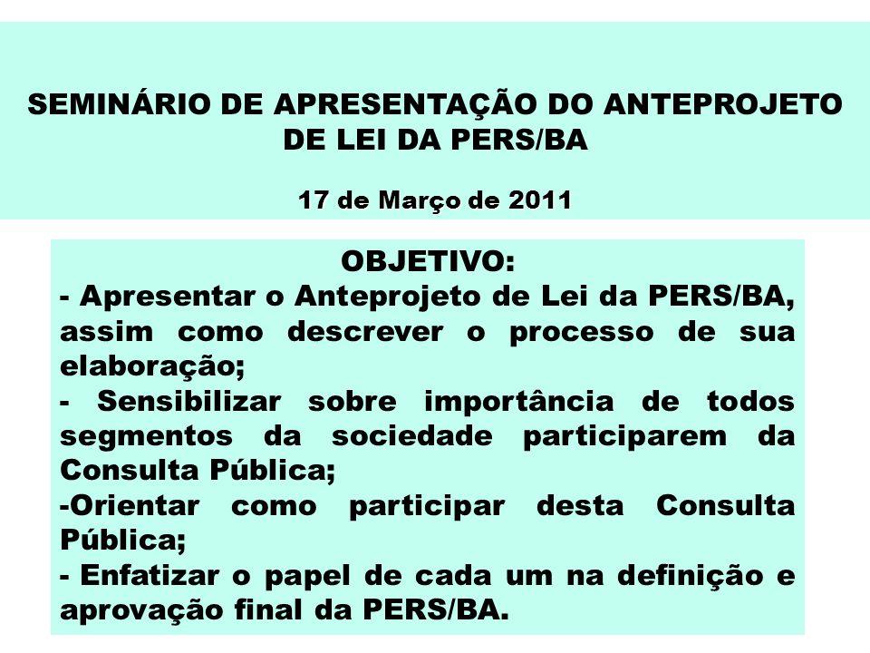 SEMINÁRIO DE APRESENTAÇÃO DO ANTEPROJETO DE LEI DA PERS/BA 17 de Março de 2011 OBJETIVO: - Apresentar o Anteprojeto de Lei da PERS/BA, assim como desc