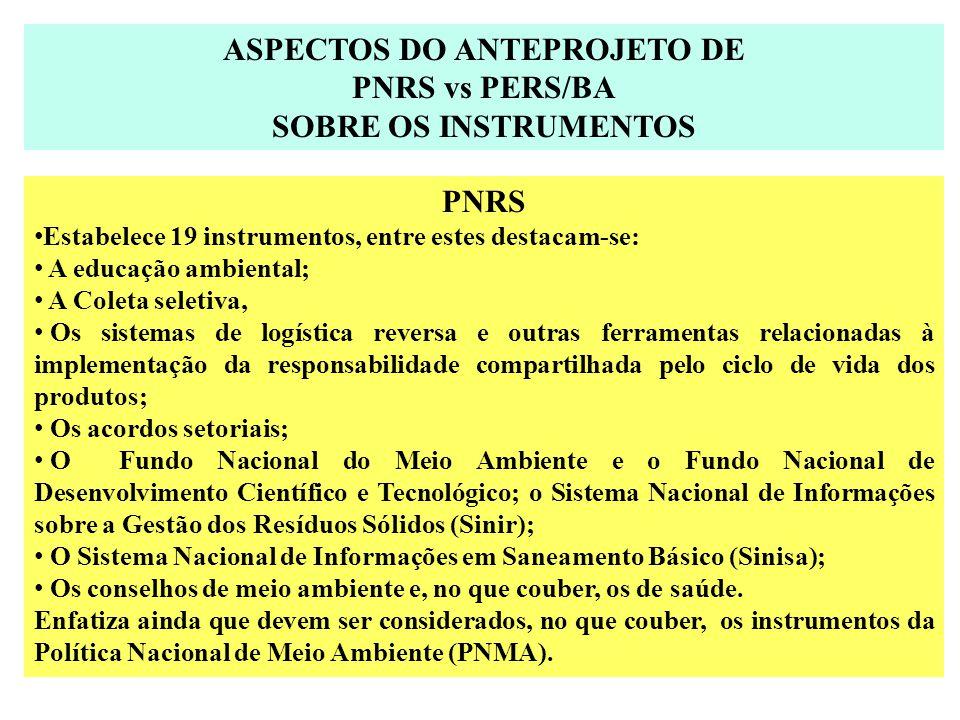 ASPECTOS DO ANTEPROJETO DE PNRS vs PERS/BA SOBRE OS INSTRUMENTOS PNRS Estabelece 19 instrumentos, entre estes destacam-se: A educação ambiental; A Col
