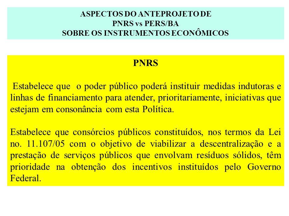 ASPECTOS DO ANTEPROJETO DE PNRS vs PERS/BA SOBRE OS INSTRUMENTOS ECONÔMICOS PNRS Estabelece que o poder público poderá instituir medidas indutoras e l