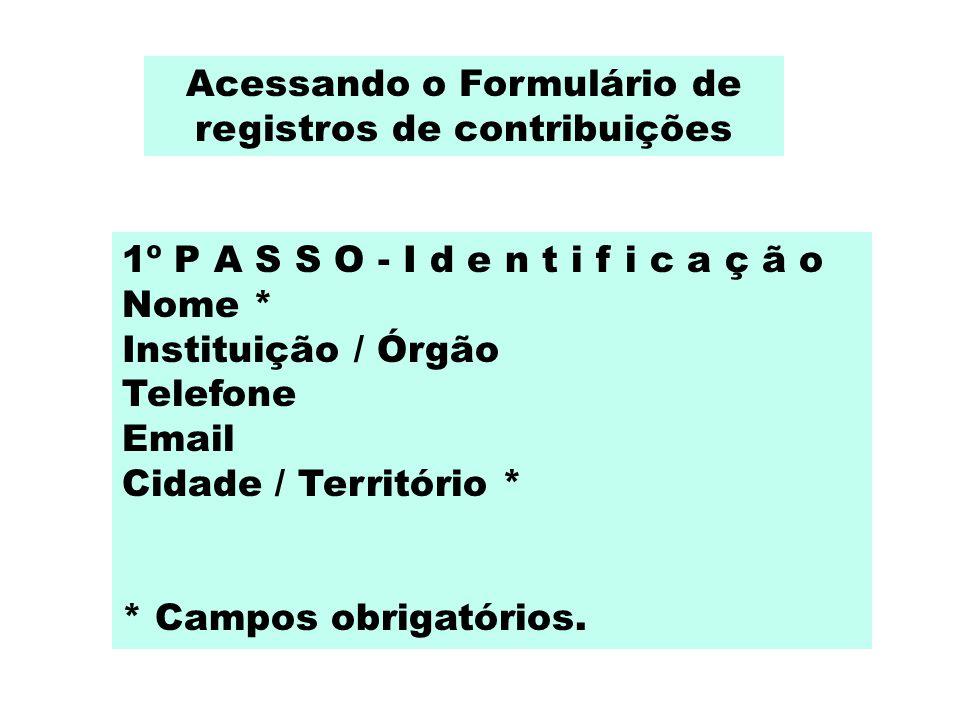Acessando o Formulário de registros de contribuições 1º P A S S O - I d e n t i f i c a ç ã o Nome * Instituição / Órgão Telefone Email Cidade / Terri