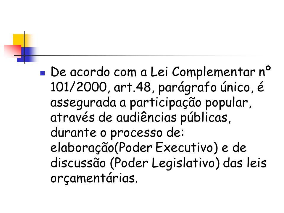 De acordo com a Lei Complementar nº 101/2000, art.48, parágrafo único, é assegurada a participação popular, através de audiências públicas, durante o