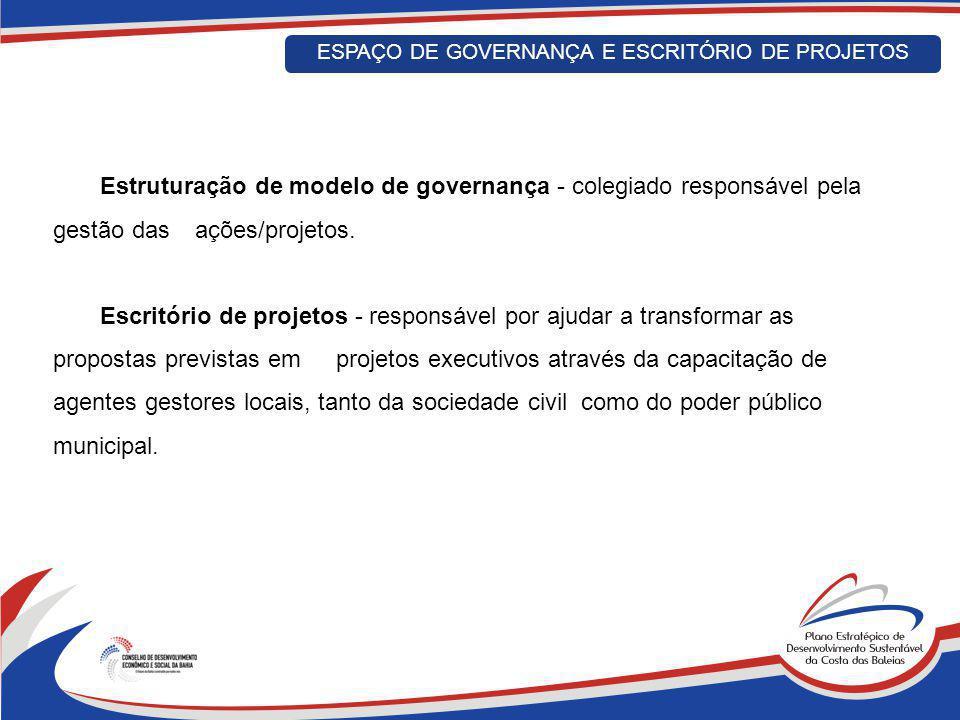 Estruturação de modelo de governança - colegiado responsável pela gestão das ações/projetos. Escritório de projetos - responsável por ajudar a transfo