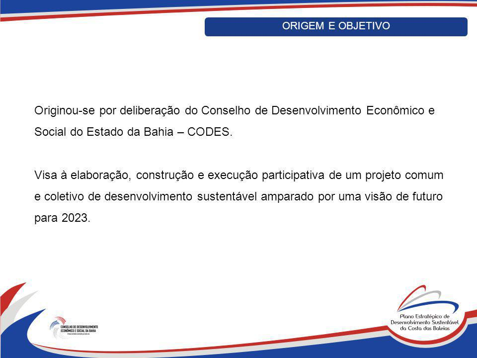 Originou-se por deliberação do Conselho de Desenvolvimento Econômico e Social do Estado da Bahia – CODES. Visa à elaboração, construção e execução par