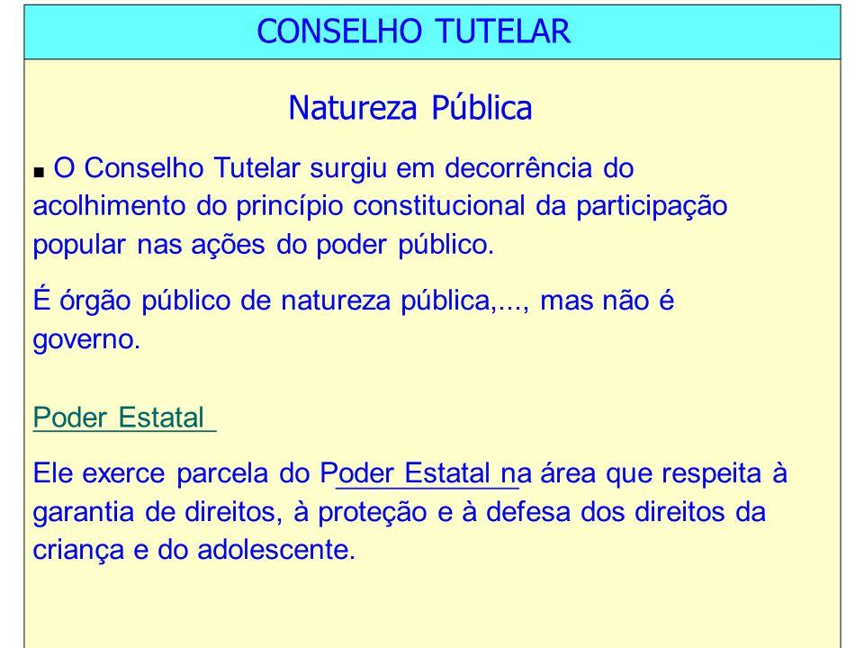 CONSELHO TUTELAR Natureza Pública O Conselho Tutelar surgiu em decorrência do acolhimento do princípio constitucional da participação popular nas açõe