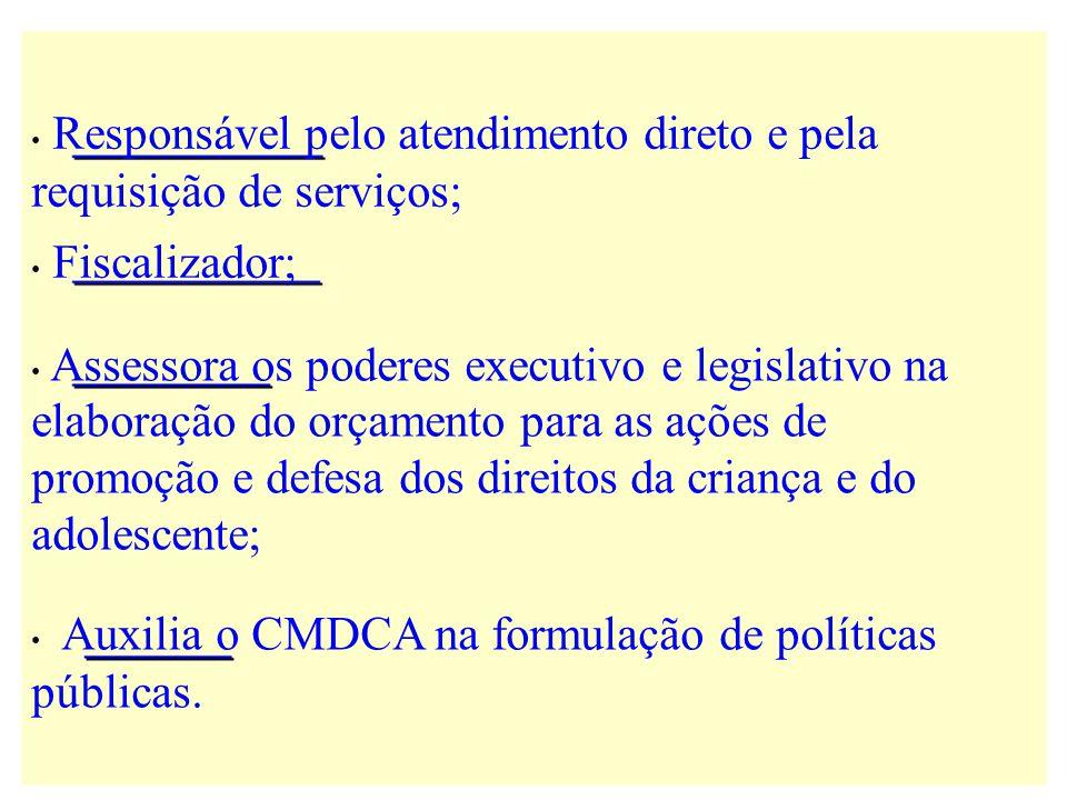 Responsável pelo atendimento direto e pela requisição de serviços; Fiscalizador; Assessora os poderes executivo e legislativo na elaboração do orçamen