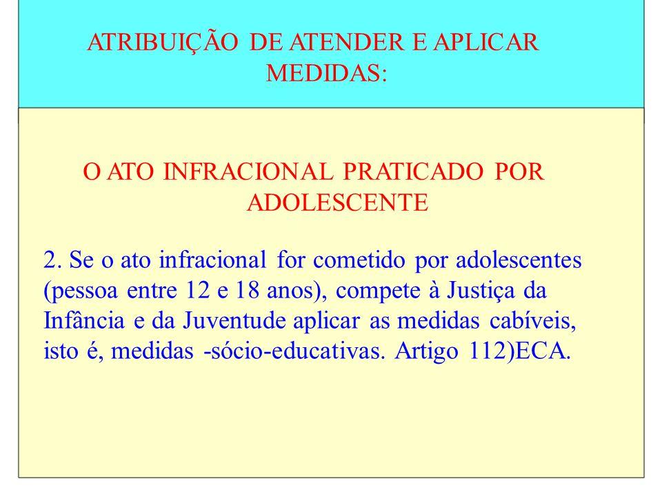 ATRIBUIÇÃO DE ATENDER E APLICAR MEDIDAS: O ATO INFRACIONAL PRATICADO POR ADOLESCENTE 2. Se o ato infracional for cometido por adolescentes (pessoa ent