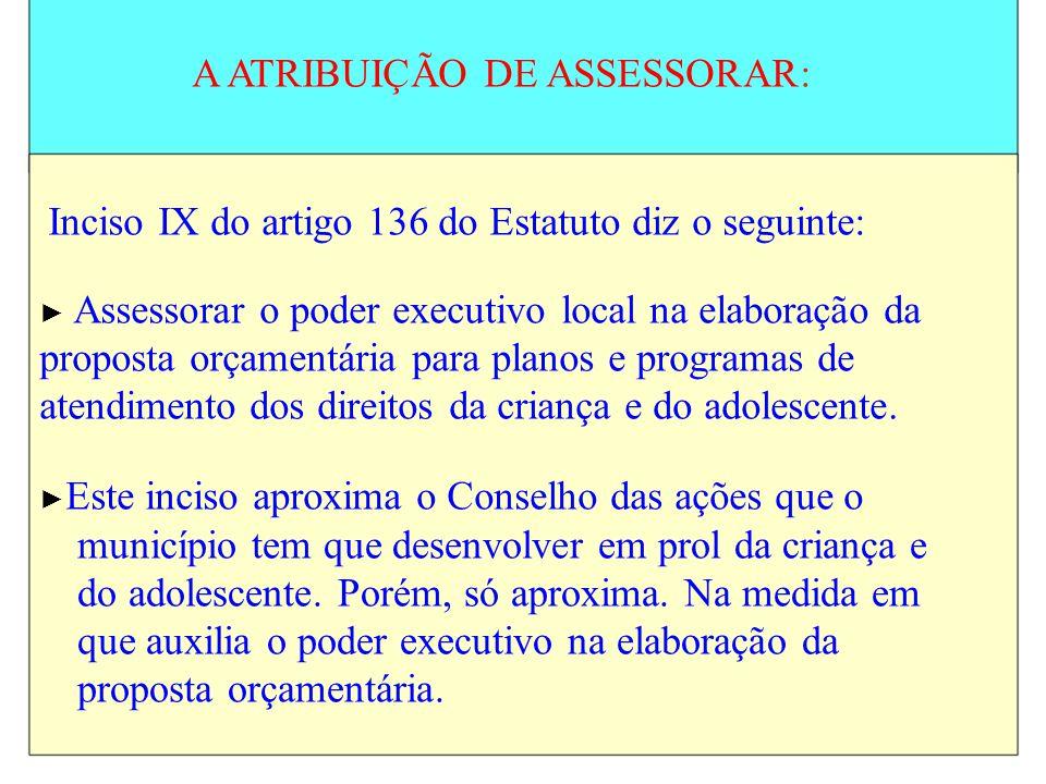 A ATRIBUIÇÃO DE ASSESSORAR: Inciso IX do artigo 136 do Estatuto diz o seguinte: Assessorar o poder executivo local na elaboração da proposta orçamentá