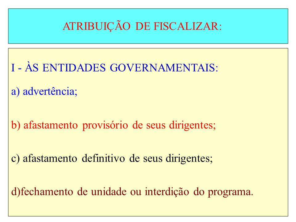 ATRIBUIÇÃO DE FISCALIZAR: I - ÀS ENTIDADES GOVERNAMENTAIS: a) advertência; b) afastamento provisório de seus dirigentes; c) afastamento definitivo de