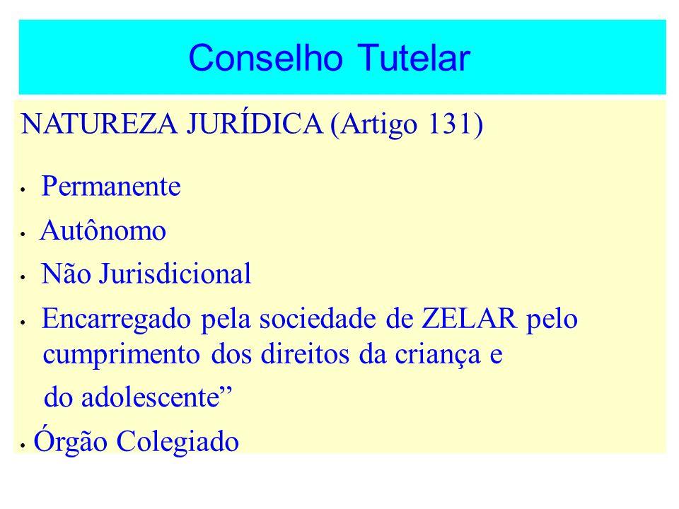 Conselho Tutelar NATUREZA JURÍDICA (Artigo 131) Permanente Autônomo Não Jurisdicional Encarregado pela sociedade de ZELAR pelo cumprimento dos direito