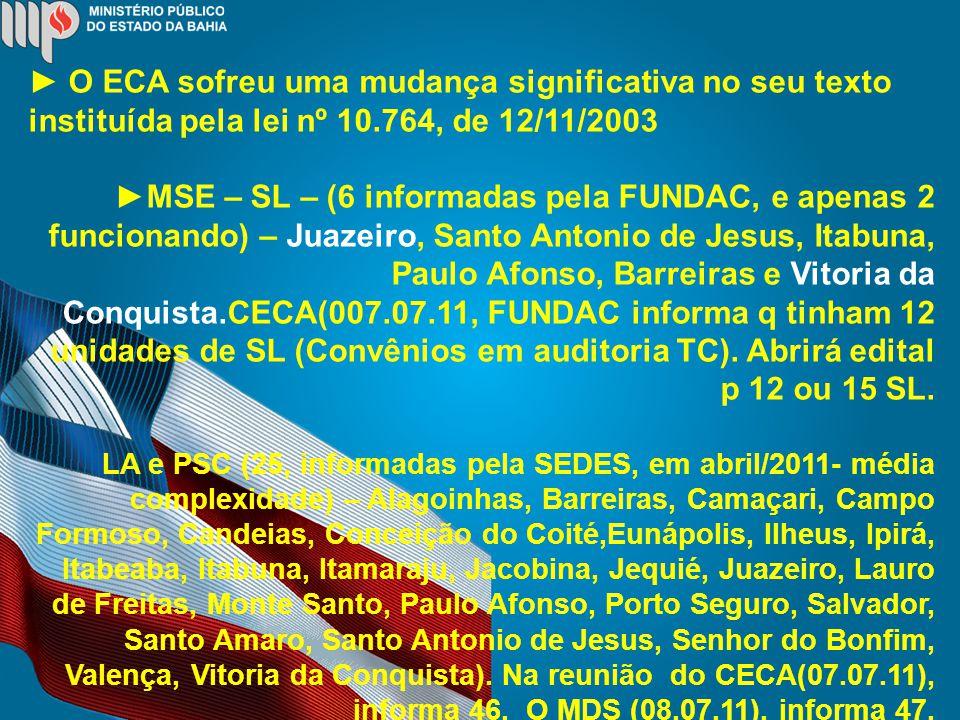 O ECA sofreu uma mudança significativa no seu texto instituída pela lei nº 10.764, de 12/11/2003 MSE – SL – (6 informadas pela FUNDAC, e apenas 2 funcionando) – Juazeiro, Santo Antonio de Jesus, Itabuna, Paulo Afonso, Barreiras e Vitoria da Conquista.CECA(007.07.11, FUNDAC informa q tinham 12 unidades de SL (Convênios em auditoria TC).
