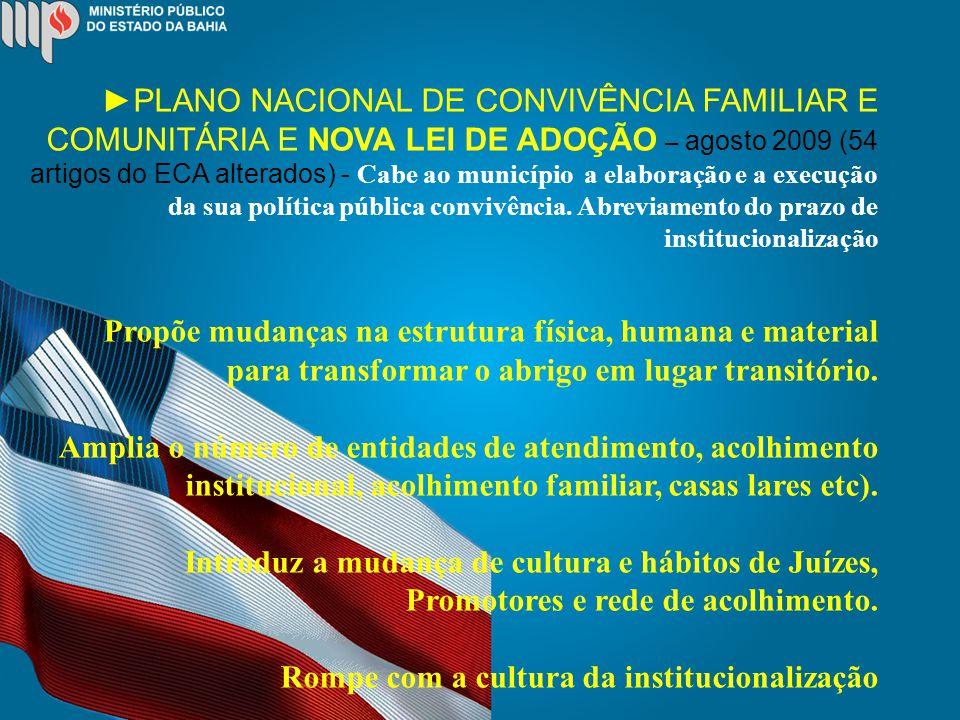 PLANO NACIONAL DE CONVIVÊNCIA FAMILIAR E COMUNITÁRIA E NOVA LEI DE ADOÇÃO – agosto 2009 (54 artigos do ECA alterados) - Cabe ao município a elaboração e a execução da sua política pública convivência.