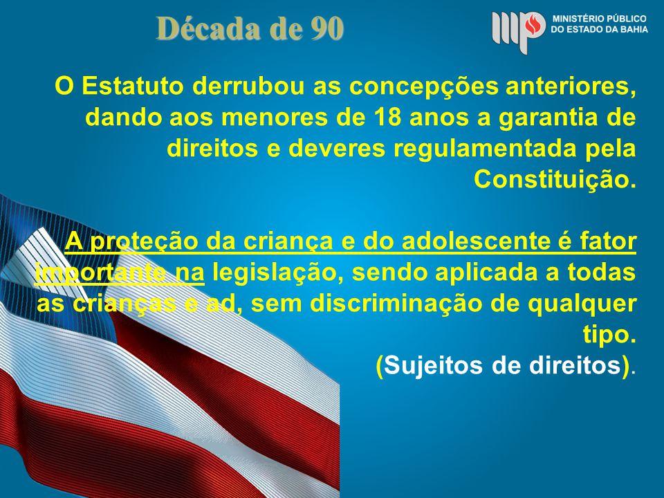 Década de 90 O Estatuto derrubou as concepções anteriores, dando aos menores de 18 anos a garantia de direitos e deveres regulamentada pela Constituição.