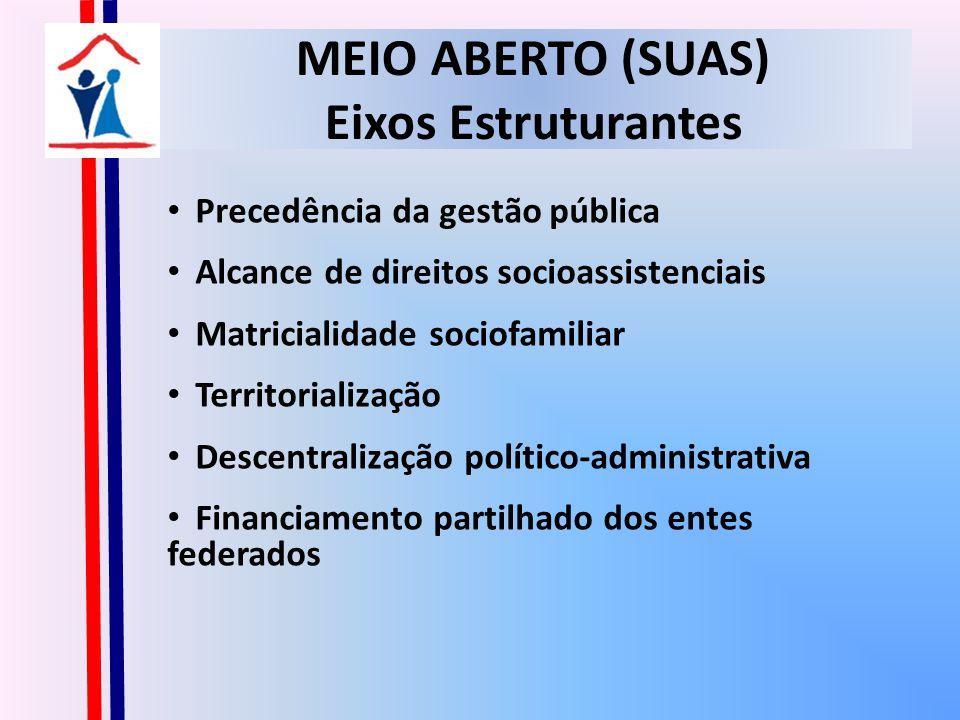 MEIO ABERTO (SUAS) Eixos Estruturantes Precedência da gestão pública Alcance de direitos socioassistenciais Matricialidade sociofamiliar Territorialização Descentralização político-administrativa Financiamento partilhado dos entes federados