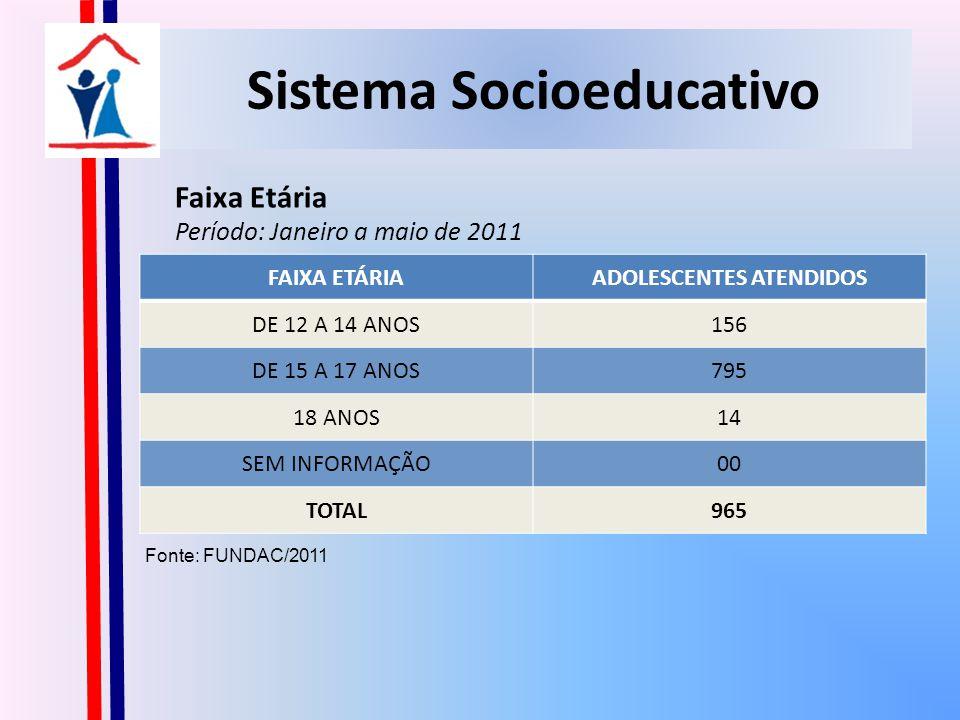 Sistema Socioeducativo Sexo Período: Janeiro a maio de 2011 Fonte: FUNDAC/2011 SEXONº% FEMININO10911,30% MASCULINO85688,70% TOTAL965100,00%
