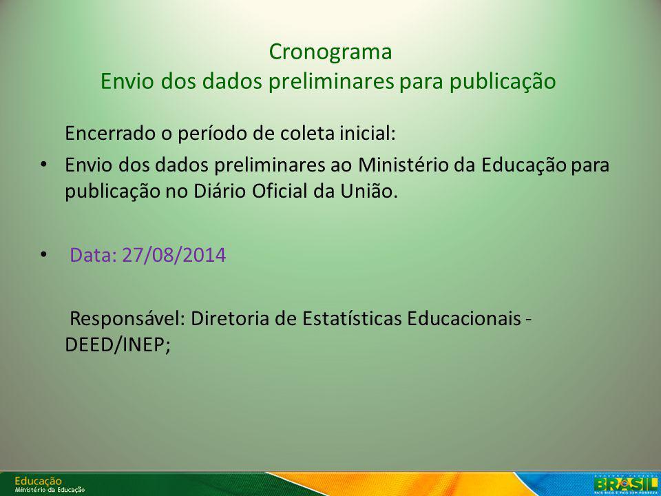 Cronograma Envio dos dados preliminares para publicação Encerrado o período de coleta inicial: Envio dos dados preliminares ao Ministério da Educação para publicação no Diário Oficial da União.