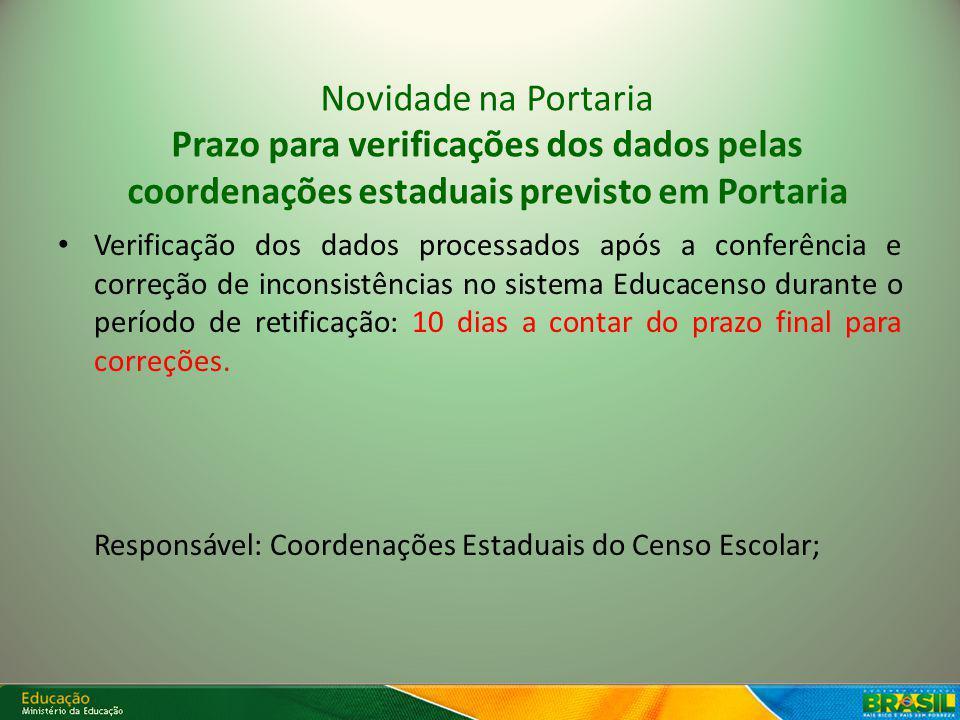 Módulo de Confirmação de Matrícula Novidade: Prazo estabelecido em Portaria para verificação apenas do Módulo depois do período oficial de retificação.