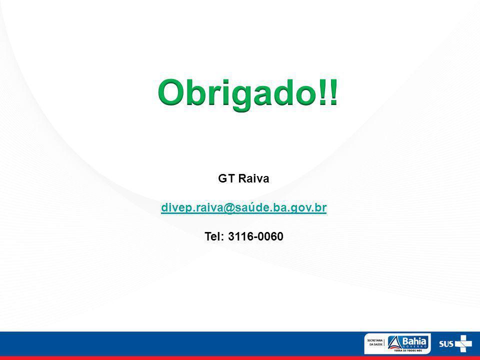GT Raiva divep.raiva@saúde.ba.gov.br Tel: 3116-0060