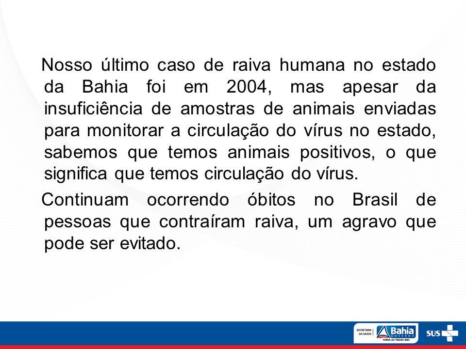 Nosso último caso de raiva humana no estado da Bahia foi em 2004, mas apesar da insuficiência de amostras de animais enviadas para monitorar a circulação do vírus no estado, sabemos que temos animais positivos, o que significa que temos circulação do vírus.