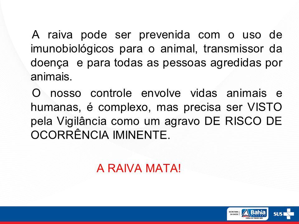 A raiva pode ser prevenida com o uso de imunobiológicos para o animal, transmissor da doença e para todas as pessoas agredidas por animais. O nosso co