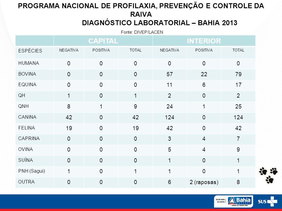 PROGRAMA NACIONAL DE PROFILAXIA, PREVENÇÃO E CONTROLE DA RAIVA DIAGNÓSTICO LABORATORIAL – BAHIA 2013 Fonte: DIVEP/LACEN CAPITALINTERIOR ESPÉCIES NEGAT