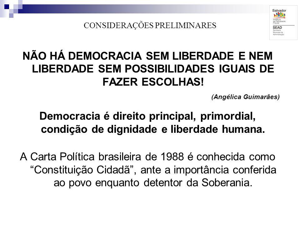 CONSIDERAÇÕES PRELIMINARES NÃO HÁ DEMOCRACIA SEM LIBERDADE E NEM LIBERDADE SEM POSSIBILIDADES IGUAIS DE FAZER ESCOLHAS! (Angélica Guimarães) Democraci
