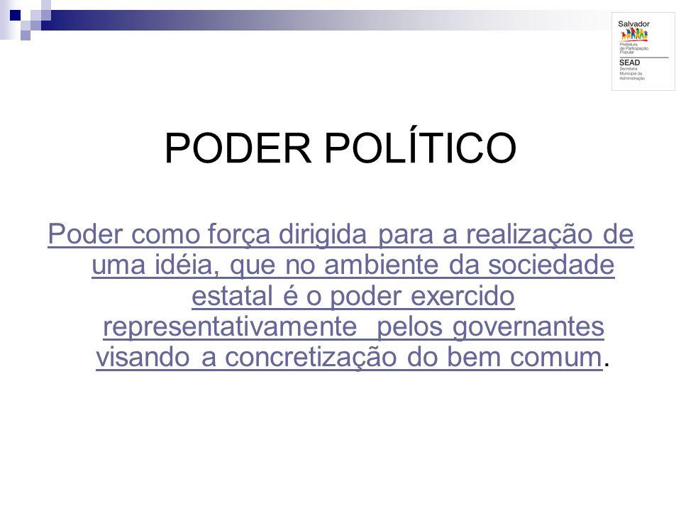 PODER POLÍTICO Poder como força dirigida para a realização de uma idéia, que no ambiente da sociedade estatal é o poder exercido representativamente p