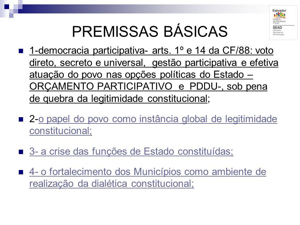 PREMISSAS BÁSICAS 1-democracia participativa- arts. 1º e 14 da CF/88: voto direto, secreto e universal, gestão participativa e efetiva atuação do povo