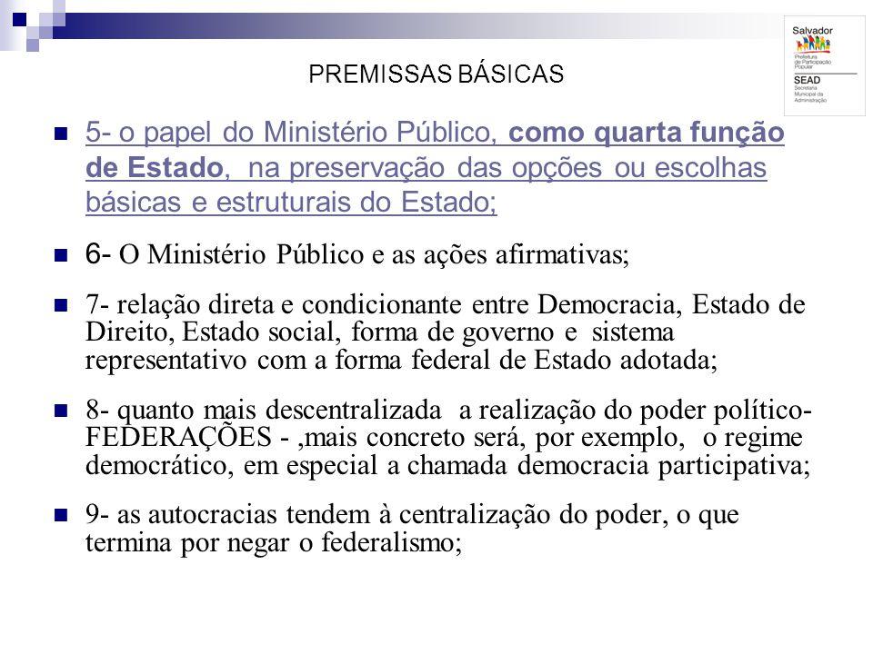 PREMISSAS BÁSICAS 5- o papel do Ministério Público, como quarta função de Estado, na preservação das opções ou escolhas básicas e estruturais do Estad