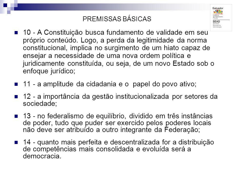 PREMISSAS BÁSICAS 10 - A Constituição busca fundamento de validade em seu próprio conteúdo. Logo, a perda da legitimidade da norma constitucional, imp