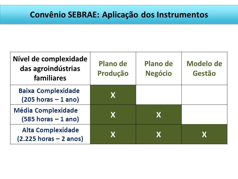 Acesso a mercados APOIO À GESTÃO DAS AGROINDÚSTRIAS (Convênio com Sebrae) Classificação em baixa, média e alta complexidade; 275 agroindústrias identi