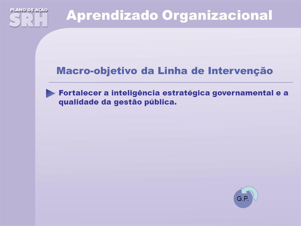 Aprendizado Organizacional Fortalecer a inteligência estratégica governamental e a qualidade da gestão pública.