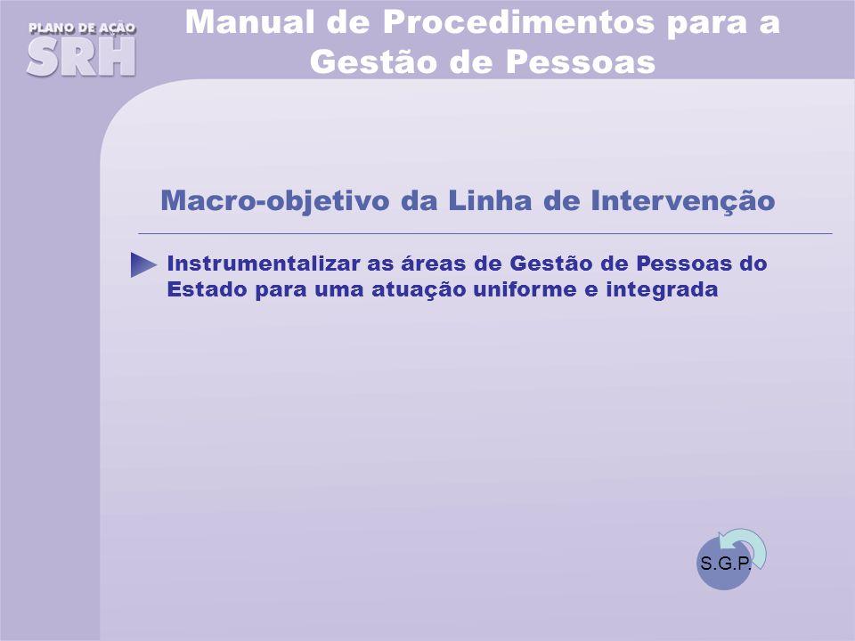 Instrumentalizar as áreas de Gestão de Pessoas do Estado para uma atuação uniforme e integrada Macro-objetivo da Linha de Intervenção Manual de Procedimentos para a Gestão de Pessoas S.G.P.
