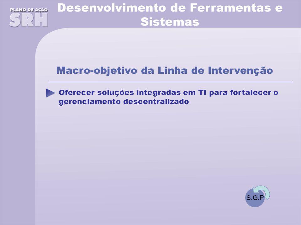 Desenvolvimento de Ferramentas e Sistemas Oferecer soluções integradas em TI para fortalecer o gerenciamento descentralizado Macro-objetivo da Linha de Intervenção S.G.P.