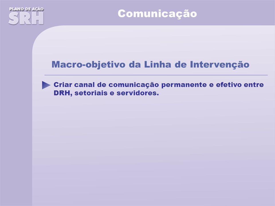 Comunicação Criar canal de comunicação permanente e efetivo entre DRH, setoriais e servidores.