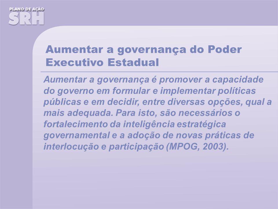 Aumentar a governança é promover a capacidade do governo em formular e implementar políticas públicas e em decidir, entre diversas opções, qual a mais adequada.