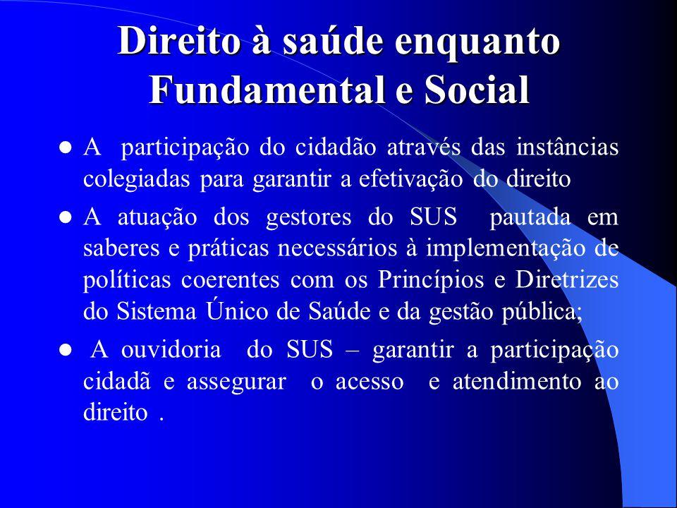 Direito à saúde enquanto Fundamental e Social A participação do cidadão através das instâncias colegiadas para garantir a efetivação do direito A atua