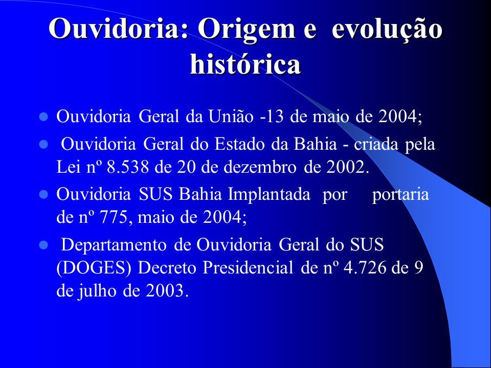 Ouvidoria: Origem e evolução histórica Ouvidoria Geral da União -13 de maio de 2004; Ouvidoria Geral do Estado da Bahia - criada pela Lei nº 8.538 de