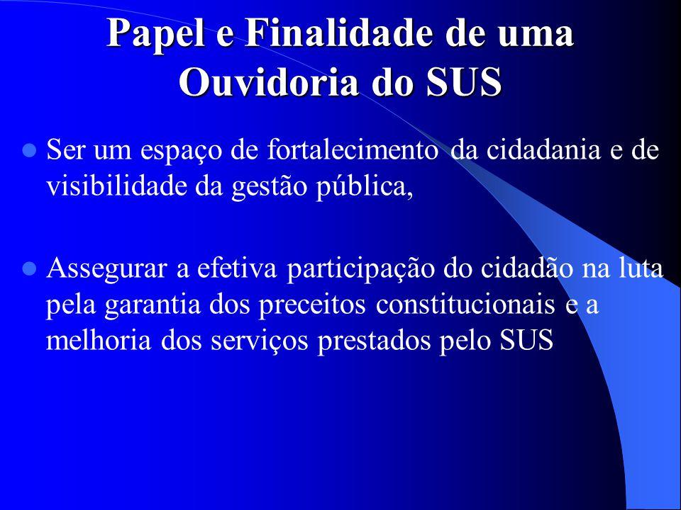 Papel e Finalidade de uma Ouvidoria do SUS Ser um espaço de fortalecimento da cidadania e de visibilidade da gestão pública, Assegurar a efetiva parti