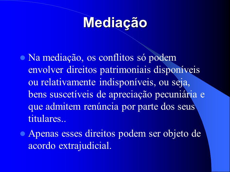 Mediação Na mediação, os conflitos só podem envolver direitos patrimoniais disponíveis ou relativamente indisponíveis, ou seja, bens suscetíveis de ap
