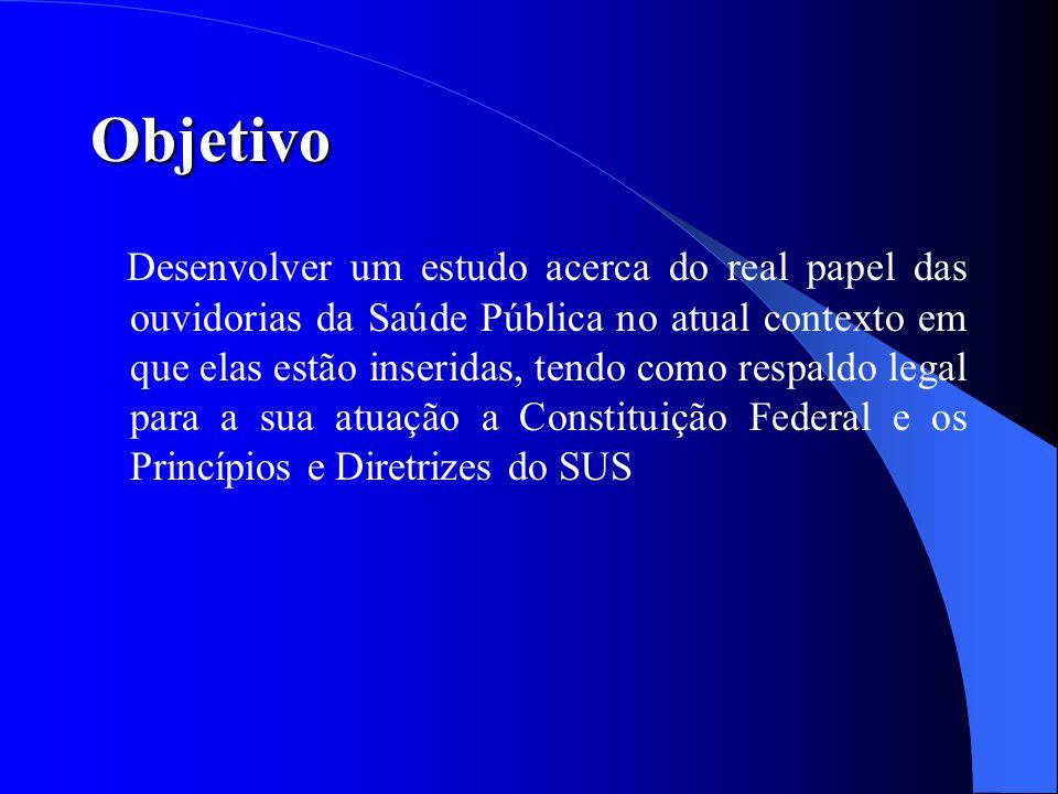 Ouvidoria: Origem e evolução histórica Paraná – 1º Estado a instituir o serviço de ouvidoria em 1991 Ceará - implantada em 1997 baseada no modelo do Paraná Ouvidoria Geral da República, no Ministério da Justiça através da Lei nº 8.490, 19 de novembro de 1992.