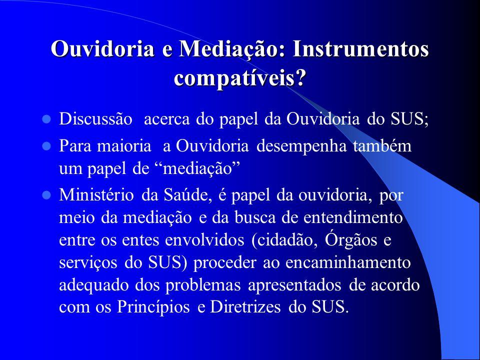 Ouvidoria e Mediação: Instrumentos compatíveis? Discussão acerca do papel da Ouvidoria do SUS; Para maioria a Ouvidoria desempenha também um papel de