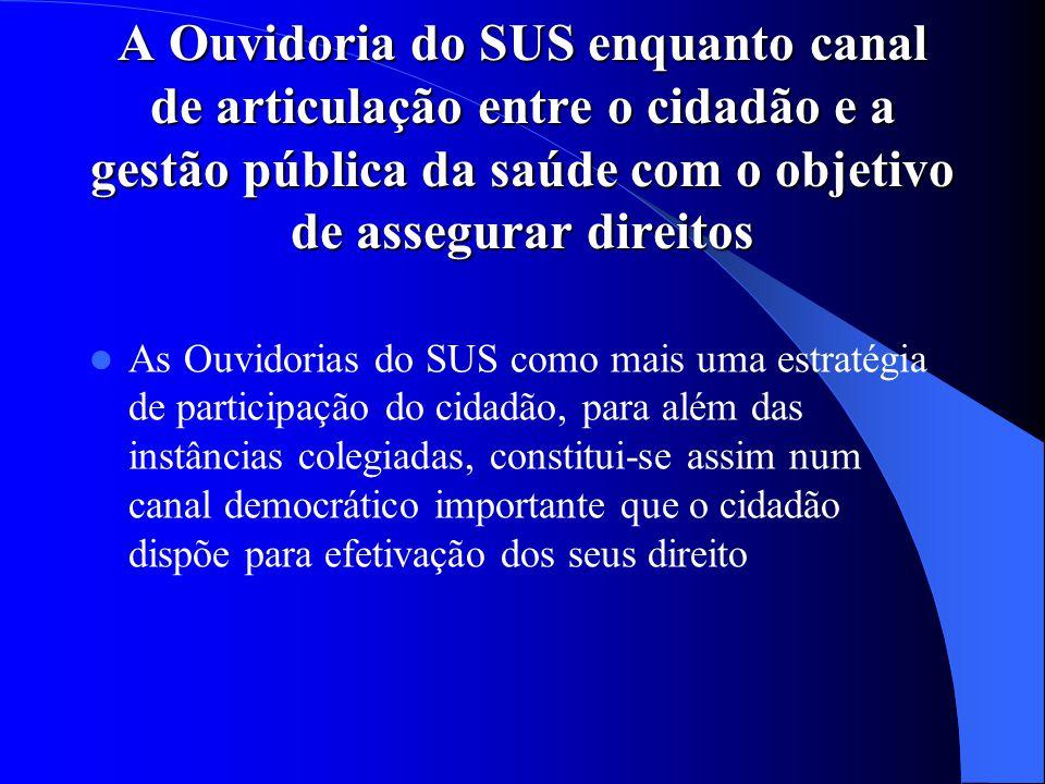 A Ouvidoria do SUS enquanto canal de articulação entre o cidadão e a gestão pública da saúde com o objetivo de assegurar direitos As Ouvidorias do SUS