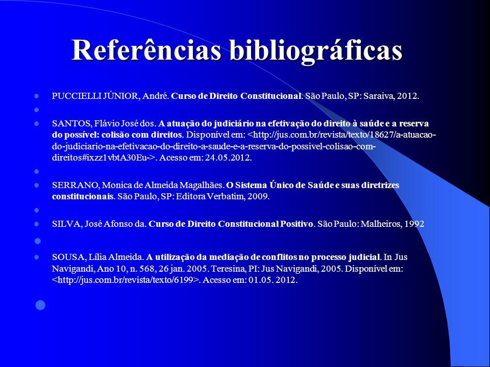 Referências bibliográficas PUCCIELLI JÚNIOR, André. Curso de Direito Constitucional. São Paulo, SP: Saraiva, 2012. SANTOS, Flávio José dos. A atuação