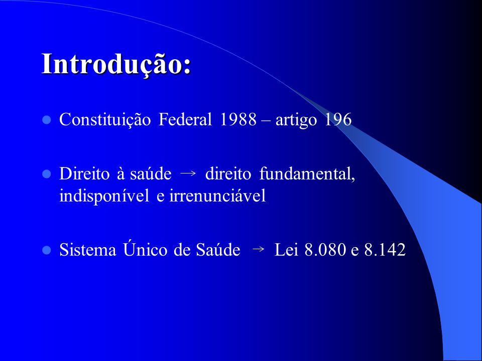 Introdução: Constituição Federal 1988 – artigo 196 Direito à saúde direito fundamental, indisponível e irrenunciável Sistema Único de Saúde Lei 8.080