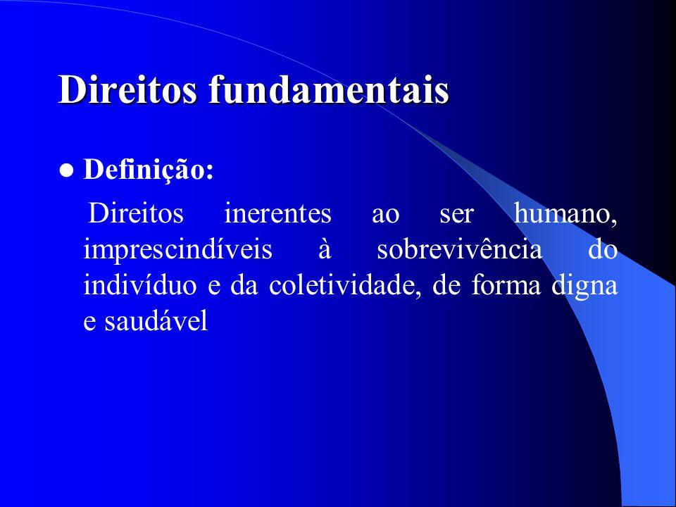 Direitos fundamentais Definição: Direitos inerentes ao ser humano, imprescindíveis à sobrevivência do indivíduo e da coletividade, de forma digna e sa