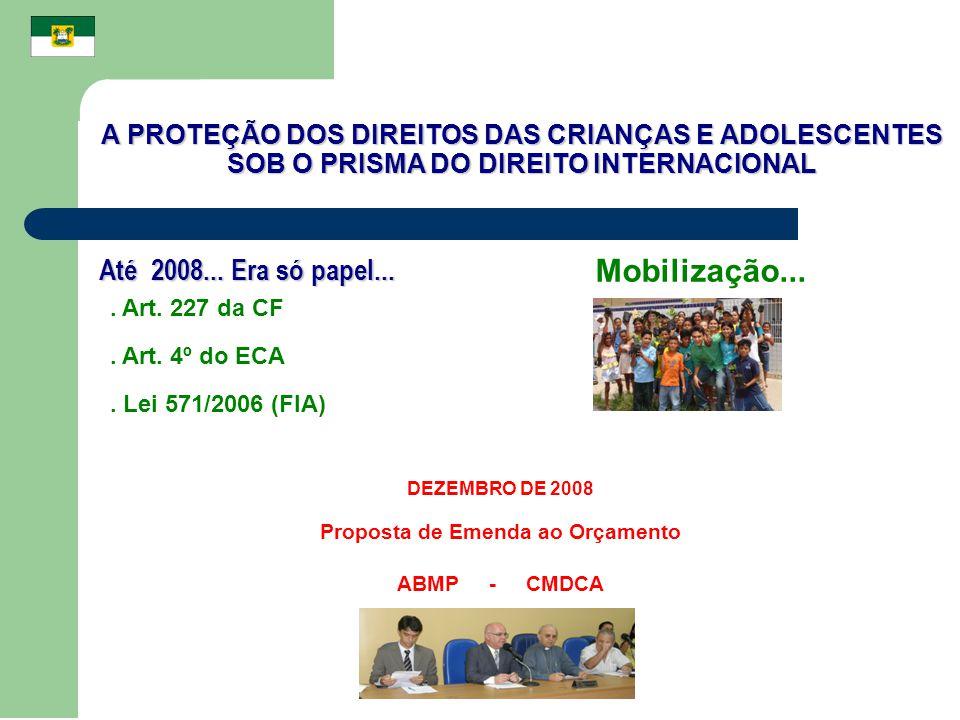 A PROTEÇÃO DOS DIREITOS DAS CRIANÇAS E ADOLESCENTES SOB O PRISMA DO DIREITO INTERNACIONAL Até 2008... Era só papel.... Art. 227 da CF. Art. 4º do ECA.
